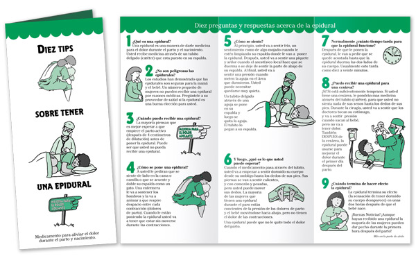 Ten Tips on Getting an Epidural Pamphlet - Spanish only