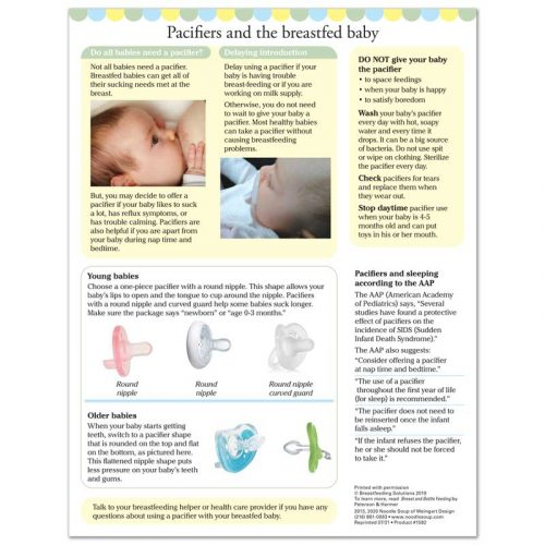 Pacifiers and the Breastfed Baby tear pad