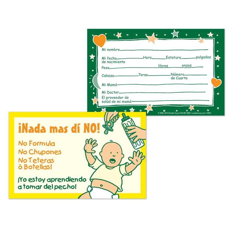 Crib Card Say No - Spanish