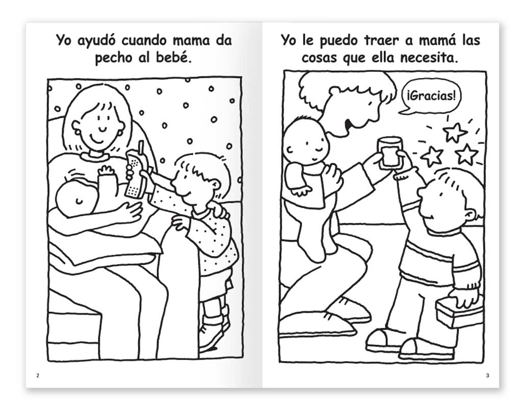 Mom is Breastfeeding coloring book - Spanish