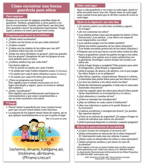 Finding Childcare Spanish flier