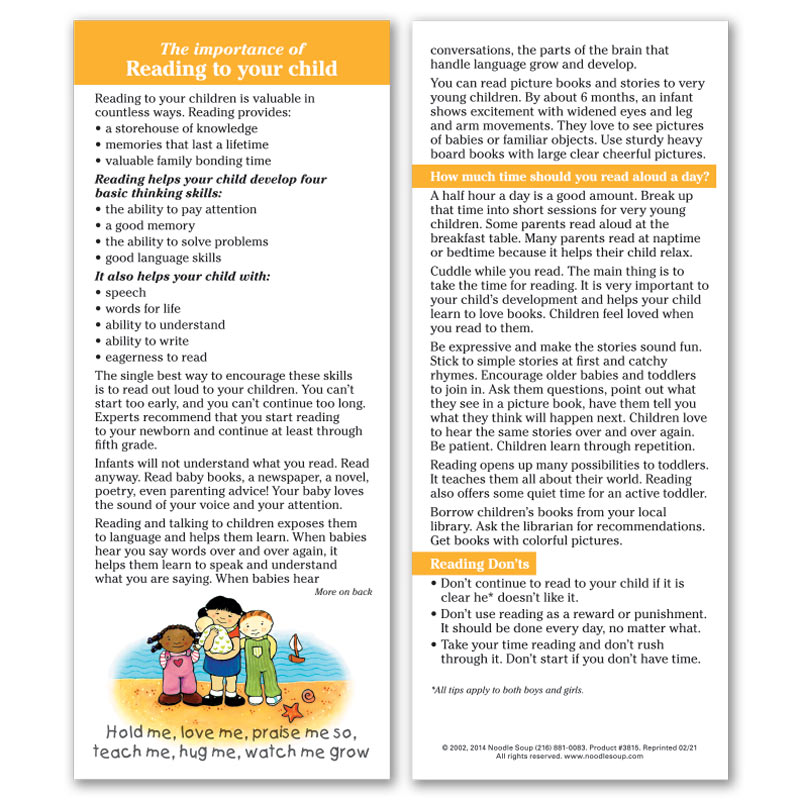Reading to Your Child Parent Pack
