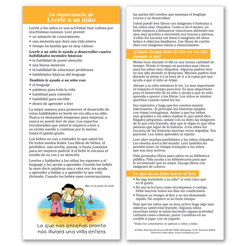 Reading to Your Child Parent Pack - Spanish