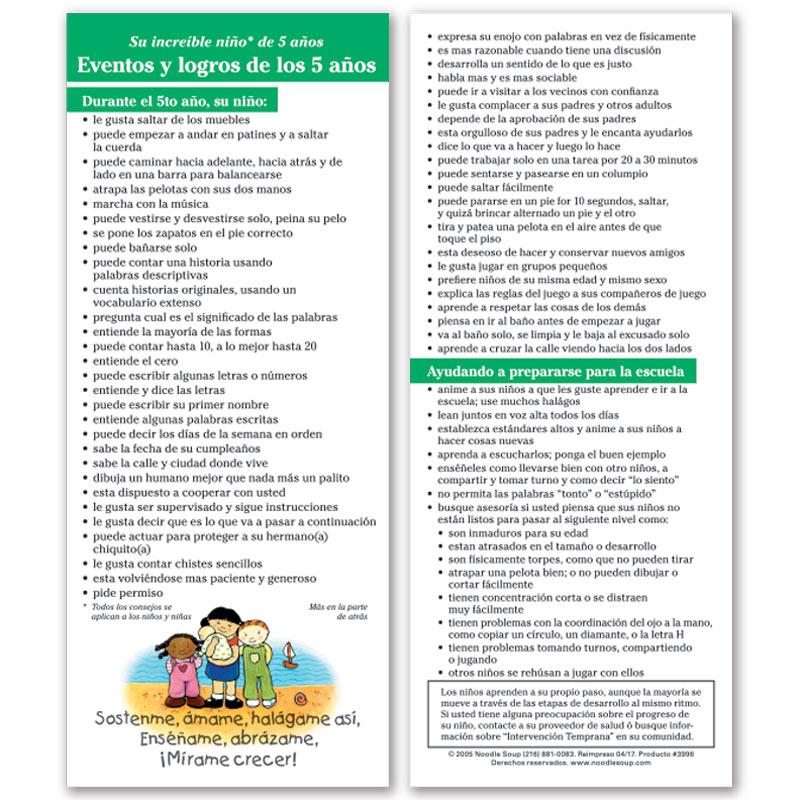 5 Year Milestones Parent Pack - Spanish