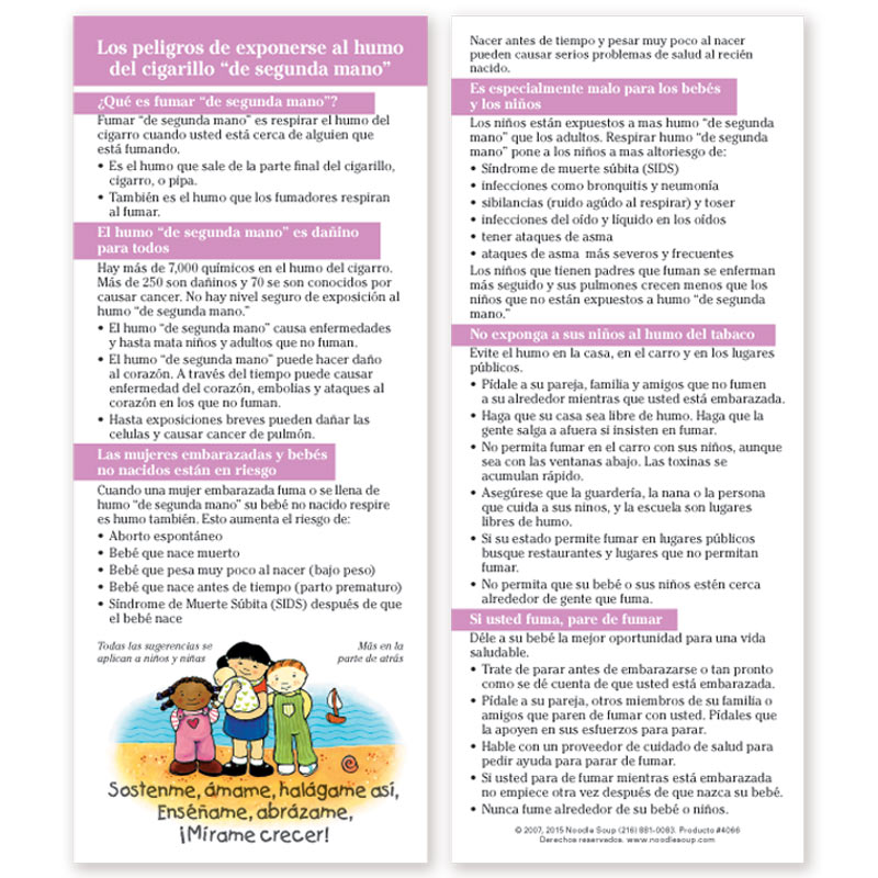 Dangers of Second-Hand Smoke Parent Pack - Spanish