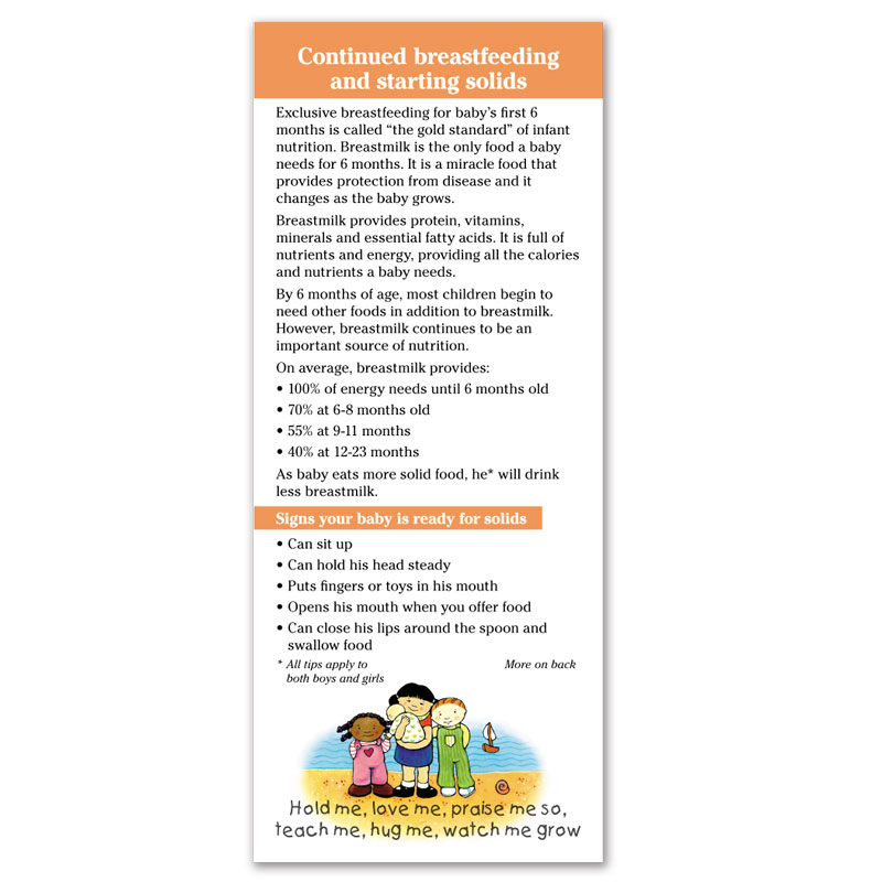 Breastfeeding Continued Breastfeeding and Starting Solids