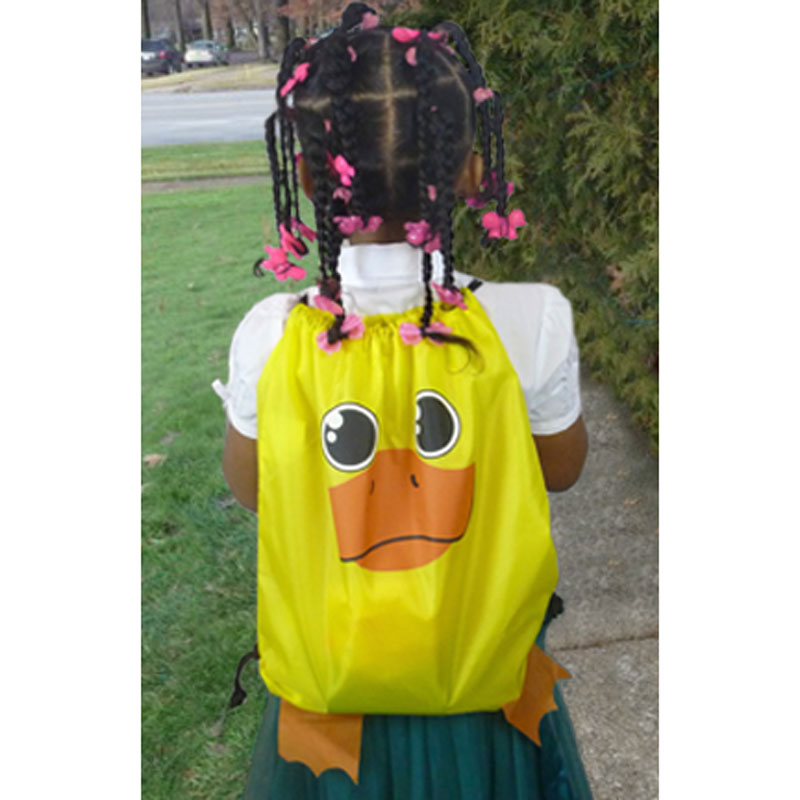Duck Drawstring Backpack - in use
