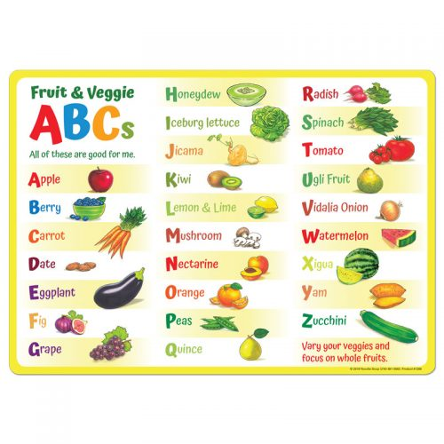 Fruit and Veggie ABC Placemat- English