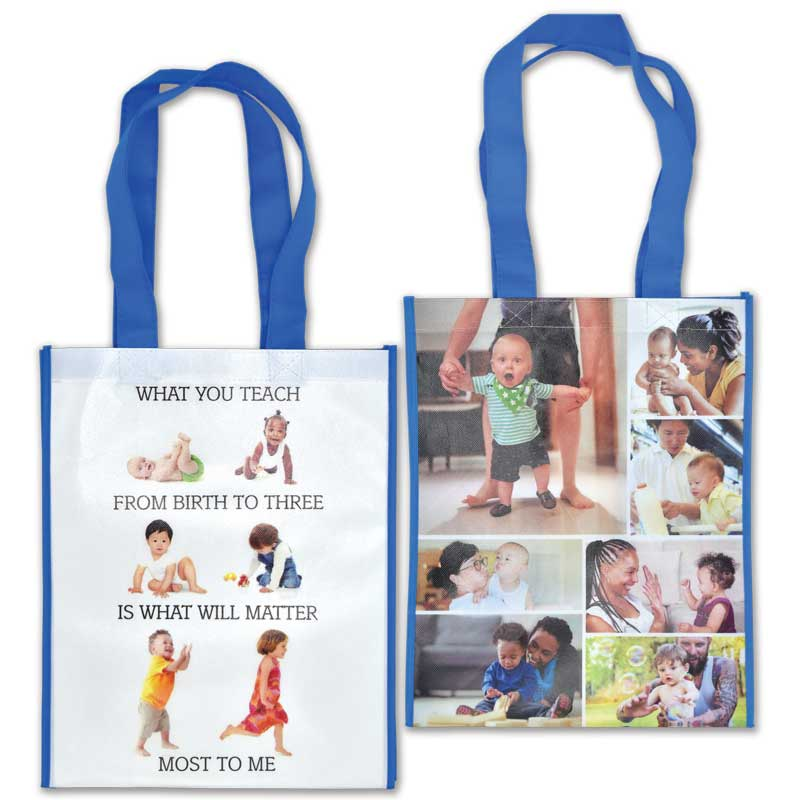 What you teach from birth to three laminated grocery tote
