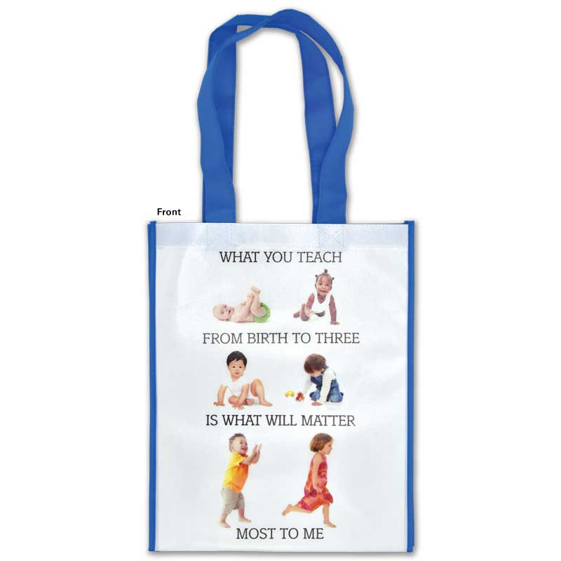 What you teach from birth to three laminated grocery tote - front
