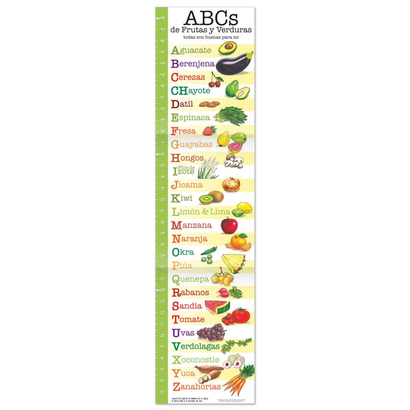 Fruit and Veggie ABC growth chart - Spanish